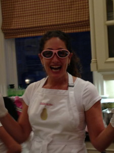 Chef Carolyn Cohen in her onion goggles!